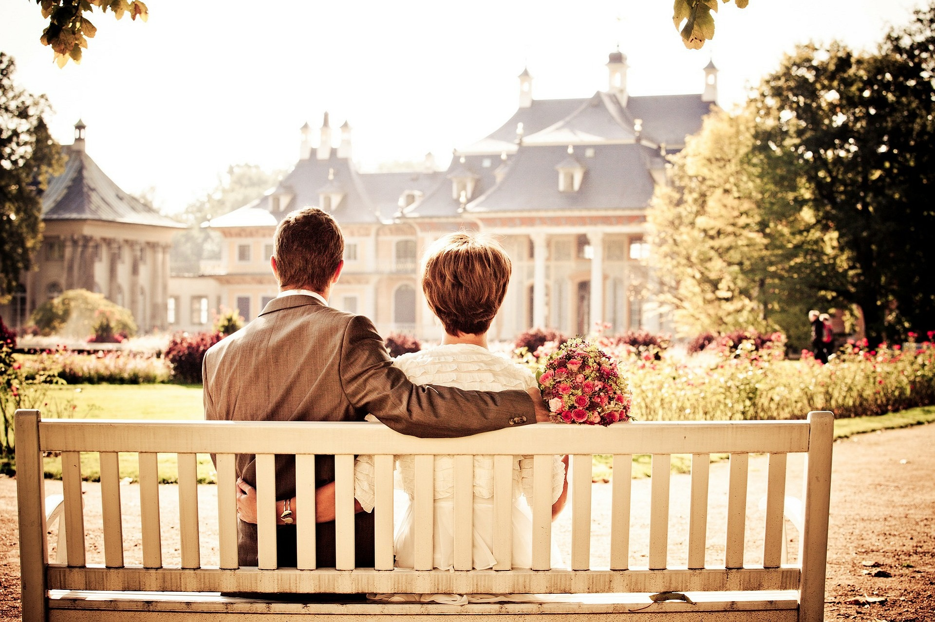 couple on bench, destination wedding